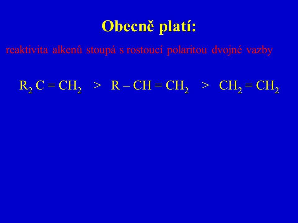Obecně platí: reaktivita alkenů stoupá s rostoucí polaritou dvojné vazby R 2 C = CH 2 > R – CH = CH 2 > CH 2 = CH 2