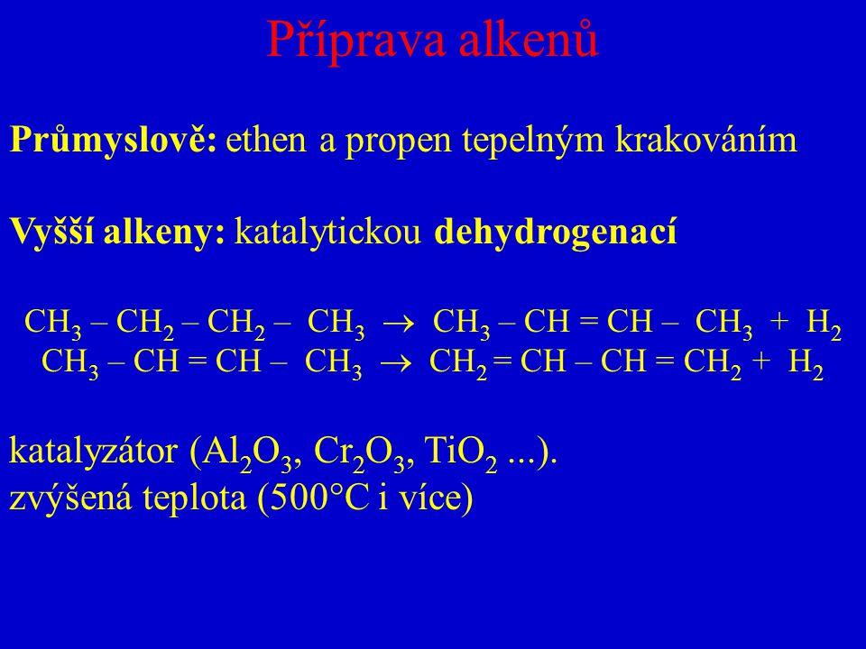 Příprava alkenů Průmyslově: ethen a propen tepelným krakováním Vyšší alkeny: katalytickou dehydrogenací CH 3 – CH 2 – CH 2 – CH 3  CH 3 – CH = CH – C