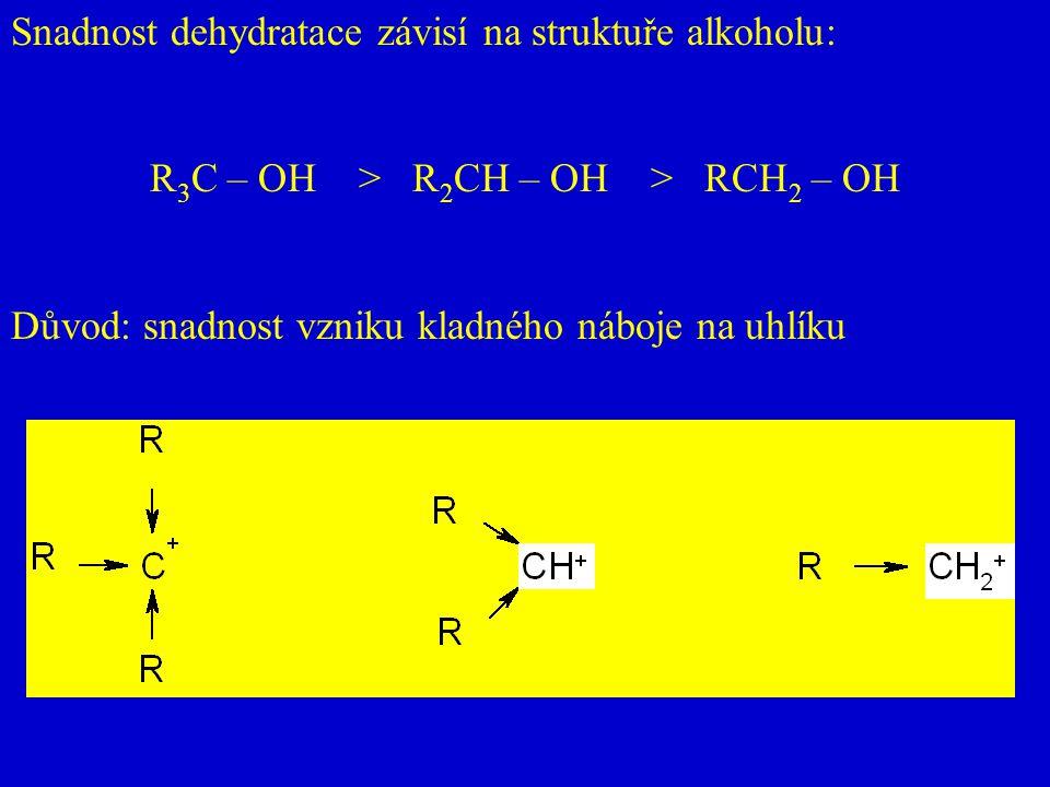 Snadnost dehydratace závisí na struktuře alkoholu: R 3 C – OH > R 2 CH – OH > RCH 2 – OH Důvod: snadnost vzniku kladného náboje na uhlíku
