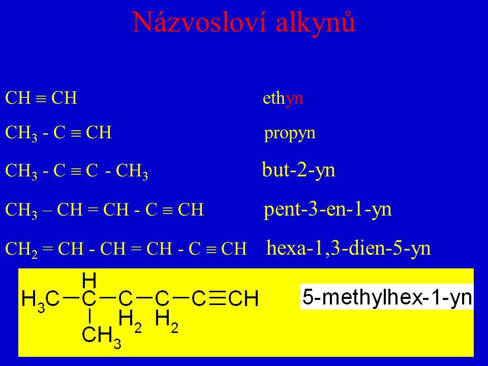 Názvosloví alkynů CH  CH ethyn CH 3 - C  CH propyn CH 3 - C  C - CH 3 but-2-yn CH 3 – CH = CH - C  CH pent-3-en-1-yn CH 2 = CH - CH = CH - C  CH