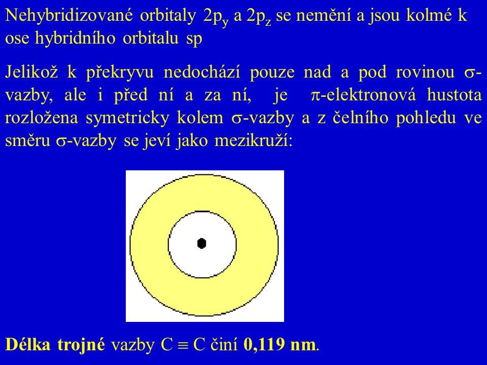 Nehybridizované orbitaly 2p y a 2p z se nemění a jsou kolmé k ose hybridního orbitalu sp Jelikož k překryvu nedochází pouze nad a pod rovinou  - vazb