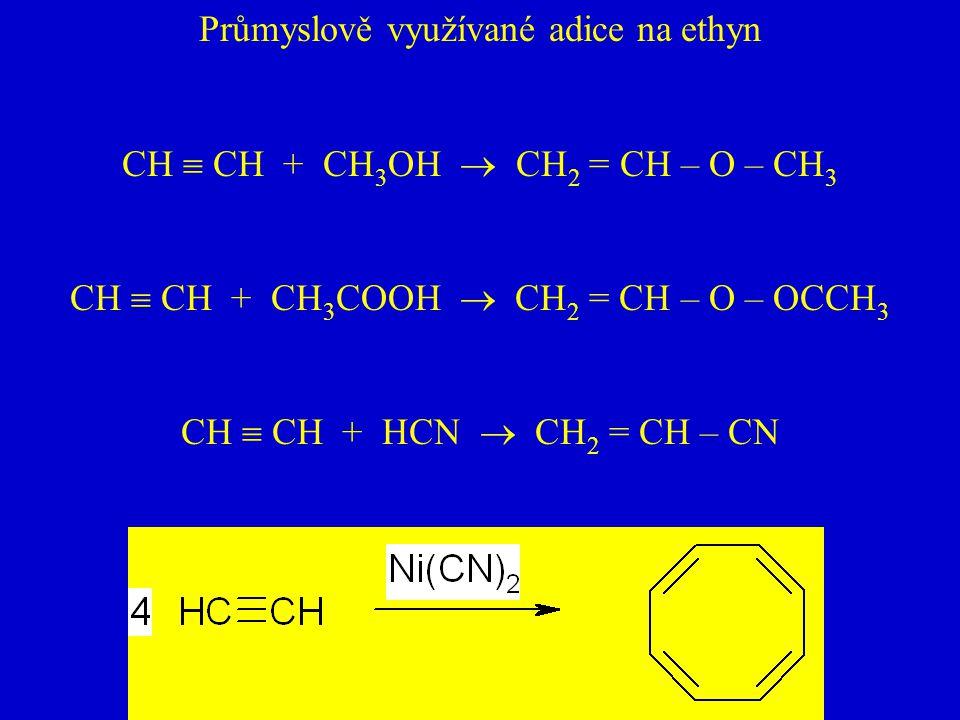 Průmyslově využívané adice na ethyn CH  CH + CH 3 OH  CH 2 = CH – O – CH 3 CH  CH + CH 3 COOH  CH 2 = CH – O – OCCH 3 CH  CH + HCN  CH 2 = CH –