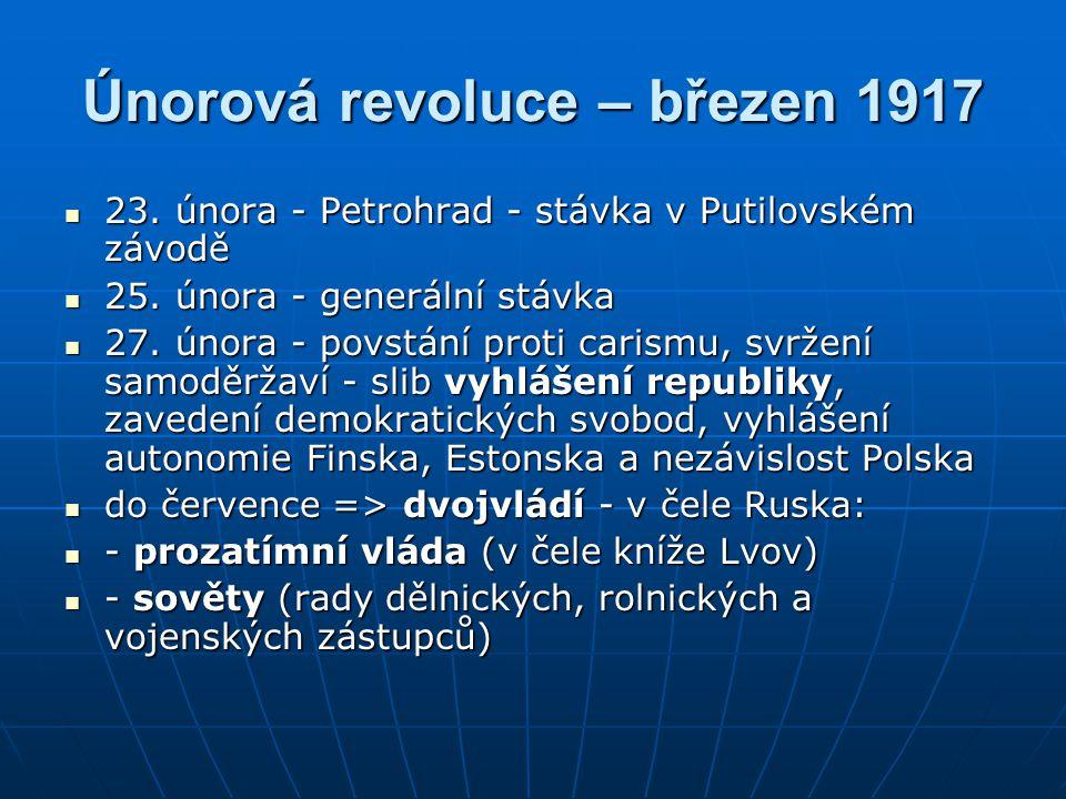 Únorová revoluce – březen 1917 23.února - Petrohrad - stávka v Putilovském závodě 23.