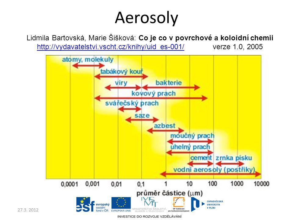 27.3. 2012 Aerosoly Lidmila Bartovská, Marie Šišková: Co je co v povrchové a koloidní chemii http://vydavatelstvi.vscht.cz/knihy/uid_es-001/http://vyd