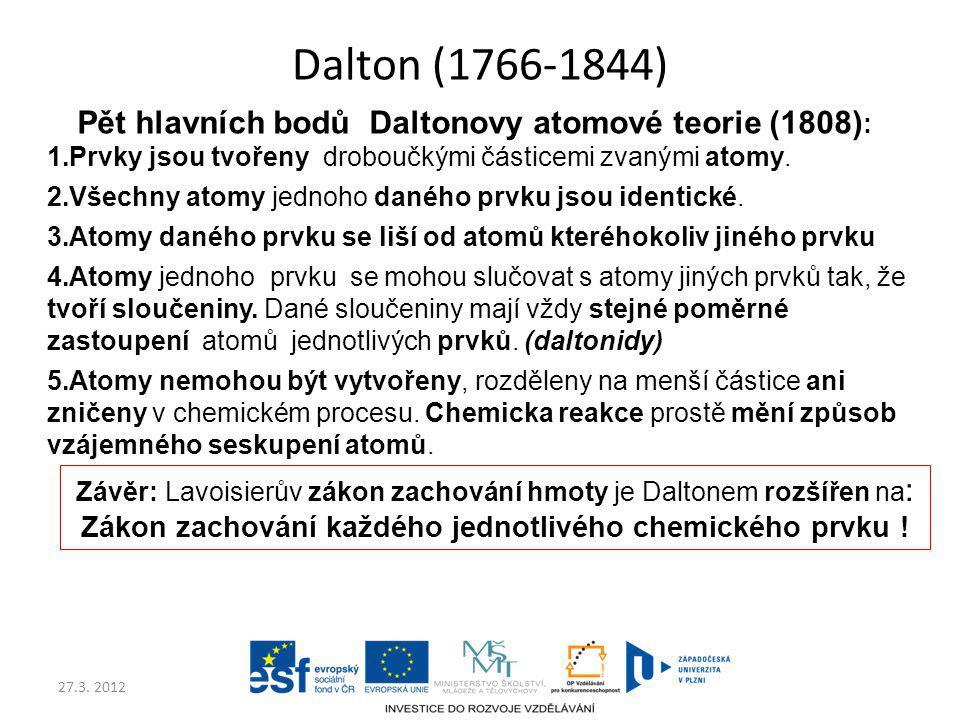 27.3. 2012 Dalton (1766-1844) Pět hlavních bodů Daltonovy atomové teorie (1808) : 1.Prvky jsou tvořeny droboučkými částicemi zvanými atomy. 2.Všechny