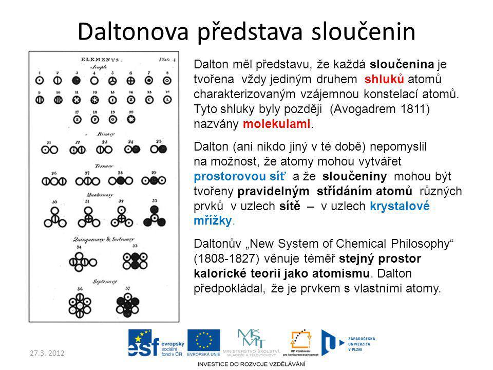 27.3. 2012 Daltonova představa sloučenin Dalton měl představu, že každá sloučenina je tvořena vždy jediným druhem shluků atomů charakterizovaným vzáje