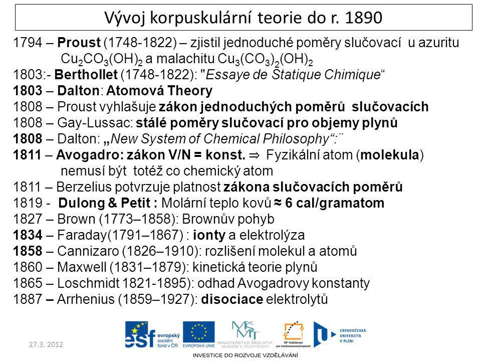 27.3. 2012 Vývoj korpuskulární teorie do r. 1890 1794 – Proust (1748-1822) – zjistil jednoduché poměry slučovací u azuritu Cu 2 CO 3 (OH) 2 a malachit