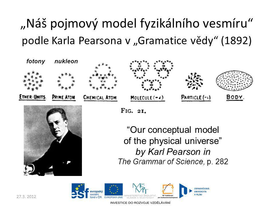 """27.3. 2012 """"Náš pojmový model fyzikálního vesmíru"""" podle Karla Pearsona v """"Gramatice vědy"""" (1892) """"Our conceptual model of the physical universe"""" by K"""