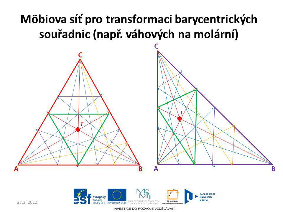 27.3. 2012 Möbiova síť pro transformaci barycentrických souřadnic (např. váhových na molární) AAB C B C T T