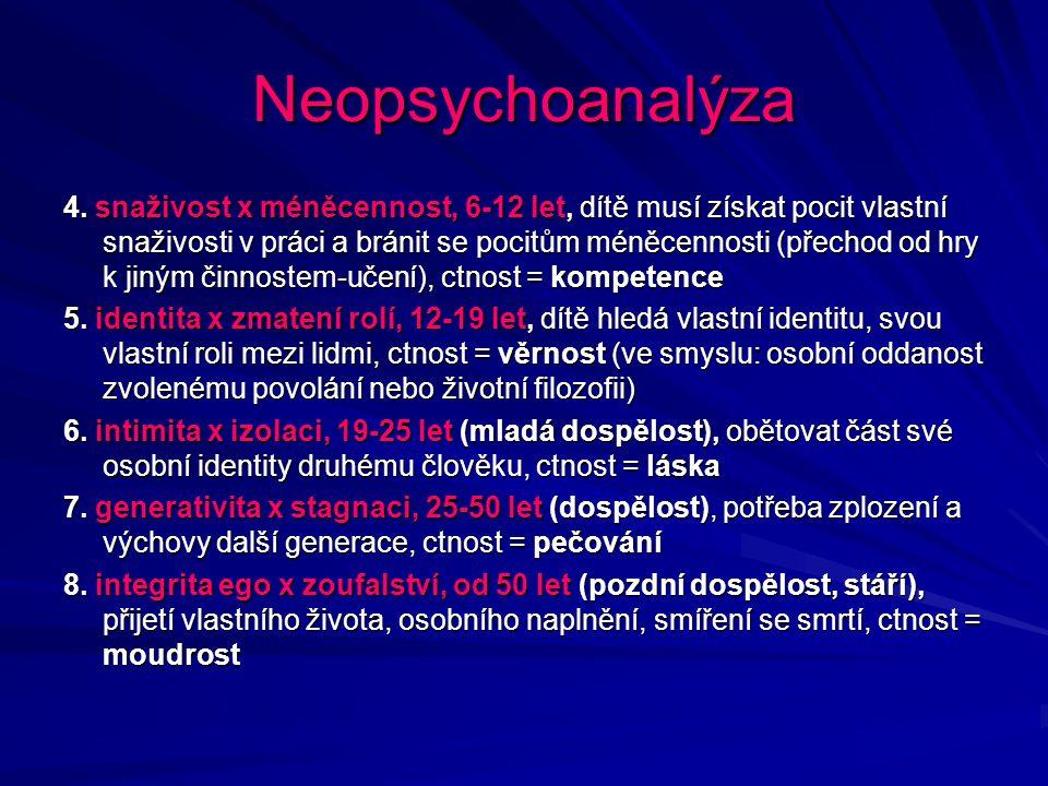 Neopsychoanalýza 4. snaživost x méněcennost, 6-12 let, dítě musí získat pocit vlastní snaživosti v práci a bránit se pocitům méněcennosti (přechod od