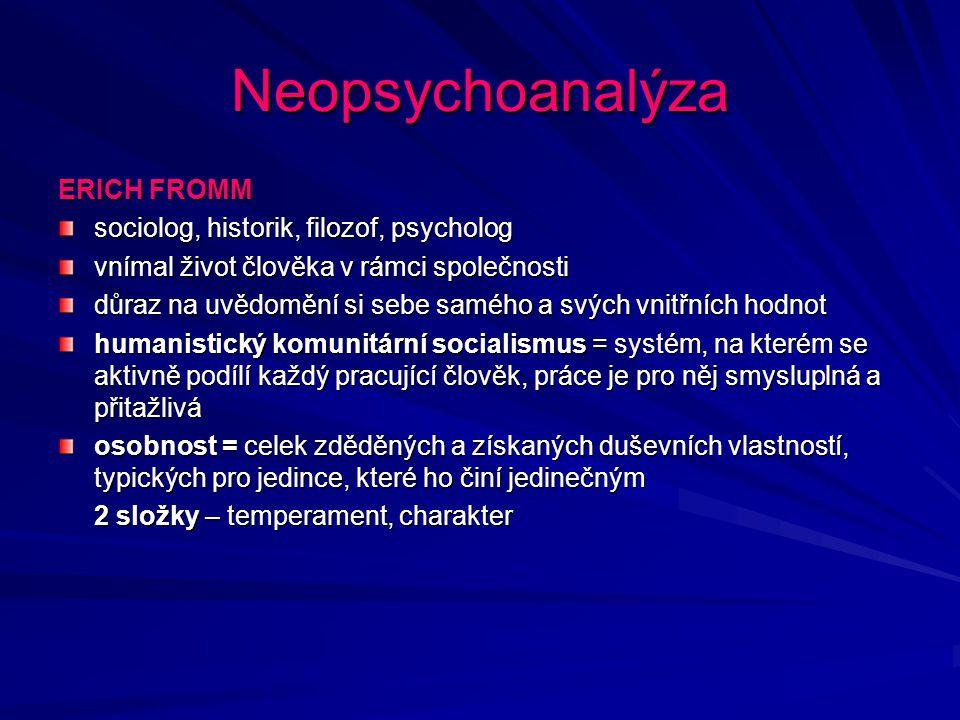 Neopsychoanalýza ERICH FROMM sociolog, historik, filozof, psycholog vnímal život člověka v rámci společnosti důraz na uvědomění si sebe samého a svých