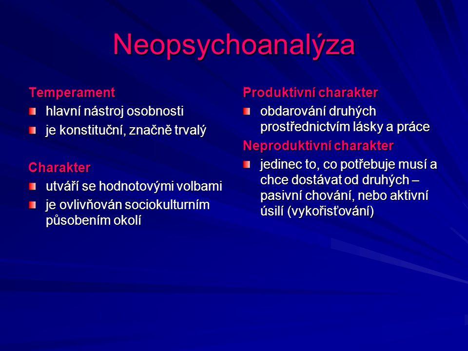 Neopsychoanalýza Temperament hlavní nástroj osobnosti je konstituční, značně trvalý Charakter utváří se hodnotovými volbami je ovlivňován sociokulturn