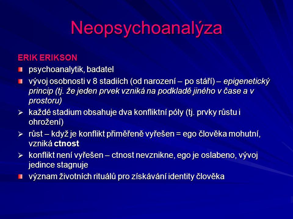 Neopsychoanalýza ERIK ERIKSON psychoanalytik, badatel vývoj osobnosti v 8 stadiích (od narození – po stáří) – epigenetický princip (tj. že jeden prvek