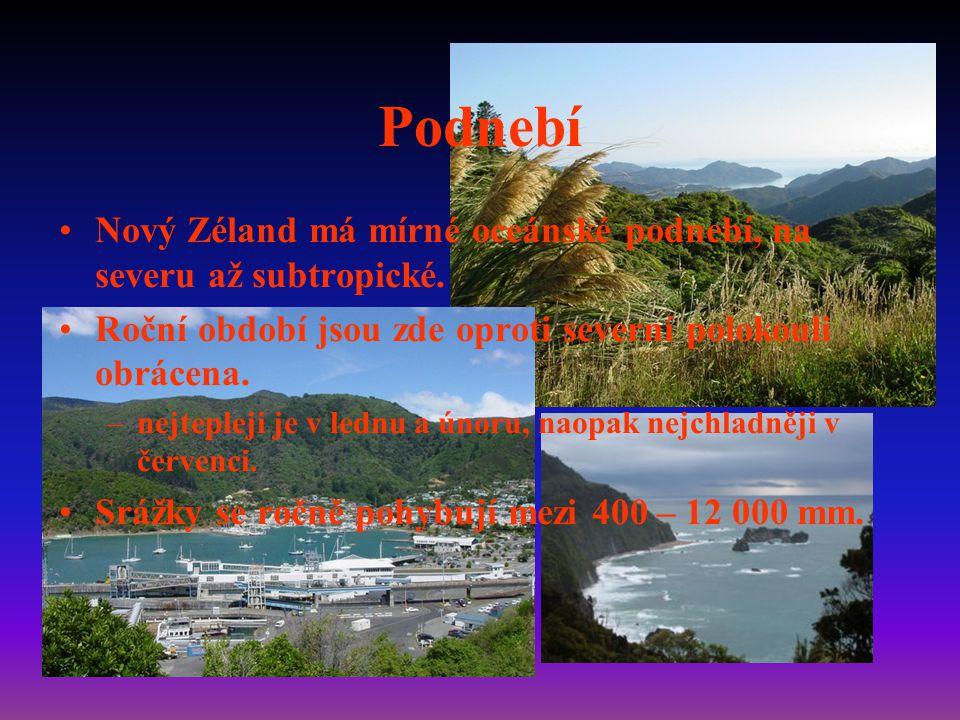 Podnebí Nový Zéland má mírné oceánské podnebí, na severu až subtropické.