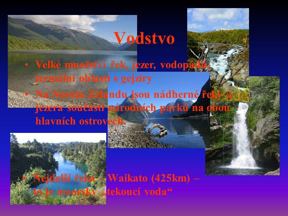 """Vodstvo Nejdelší řeka – Waikato (425km) – to je maorsky """"tekoucí voda Velké množství řek, jezer, vodopádů, termální oblasti s gejzíry Na Novém Zélandu jsou nádherné řeky a jezera součástí národních parků na obou hlavních ostrovech."""