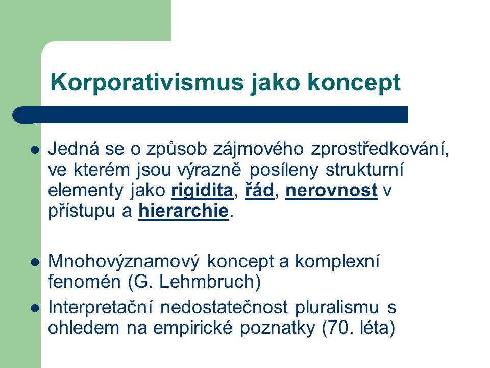 Korporativismus jako koncept Jedná se o způsob zájmového zprostředkování, ve kterém jsou výrazně posíleny strukturní elementy jako rigidita, řád, nero