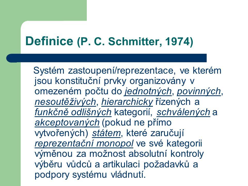 Definice (P. C. Schmitter, 1974) Systém zastoupení/reprezentace, ve kterém jsou konstituční prvky organizovány v omezeném počtu do jednotných, povinný