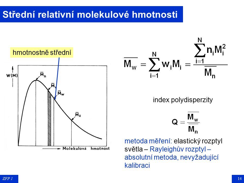 ZFP 113 Střední relativní molekulové hmotnosti viskozitně střední měření viskozity  [éta] velmi zředěných roztoků polymerů pro různé koncentrace vni