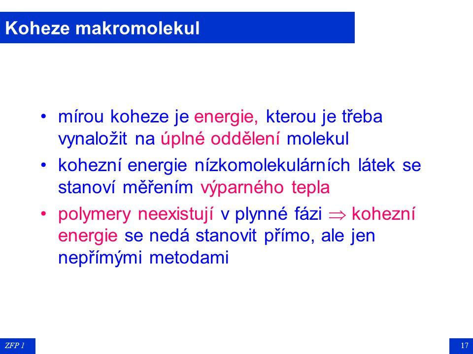 ZFP 116 Koheze makromolekul nevazebné síly, působící mezi částmi téže makromolekuly a mezi sousedními molekulami způsobují kohezi (soudržnost) polymer