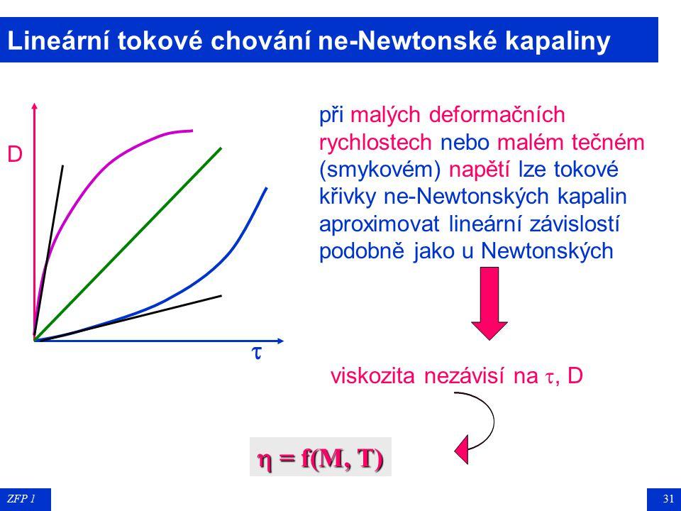 ZFP 130 Newtonské a nenewtonské kapaliny  D  D nenewtonské kapaliny: viskozita není konstantou, ale mění se s , D  zdánlivá viskozita nenewtonská