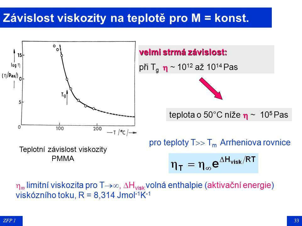 ZFP 132 Závislost viskozity na molekulové hmotnosti T = konst a  3,4 – 3,5 pro M w > M krit  1,4 – 2,5 pro M w < M krit b závisí na T a na typu poly