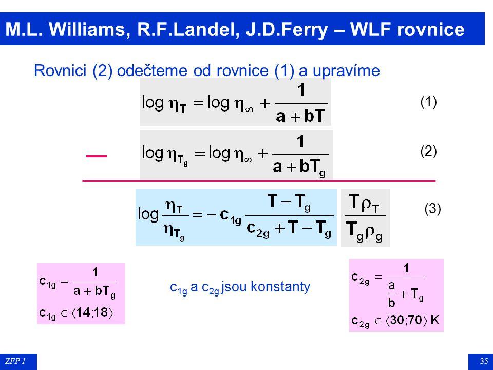 ZFP 134 H. Vogel, G.S. Fulcher, G.Tamman – VFT rovnice   = limitní viskozita pro T , a a b konstanty, charakteristické pro daný polymer Rovnice (1