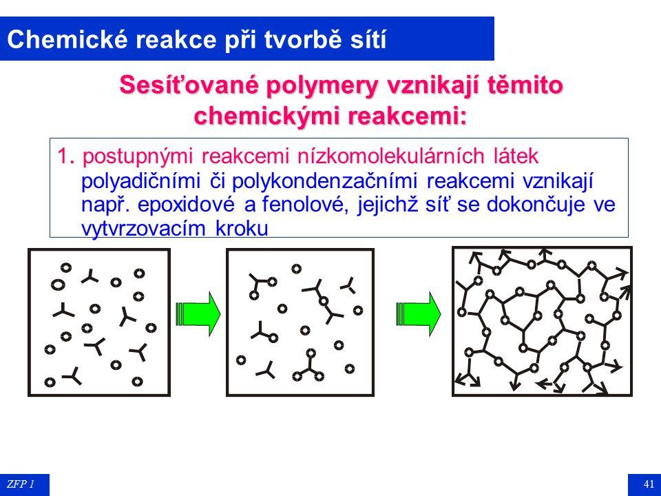 ZFP 140 Vznik sítí ineární polymeryLineární polymery vznikají spojováním bifunkčních monomerů. rozvětvené makromolekulyMá-li některá z reakčních slože