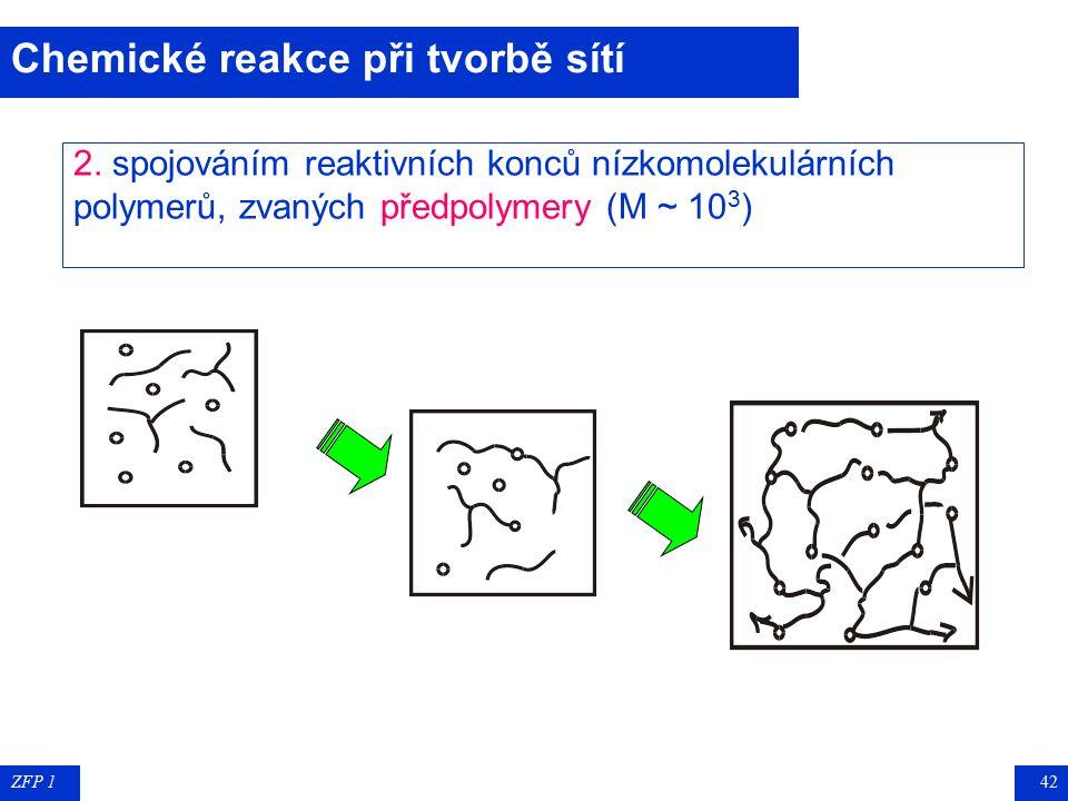 ZFP 141 Sesíťované polymery vznikají těmito chemickými reakcemi: Sesíťované polymery vznikají těmito chemickými reakcemi: : 1. postupnými reakcemi níz