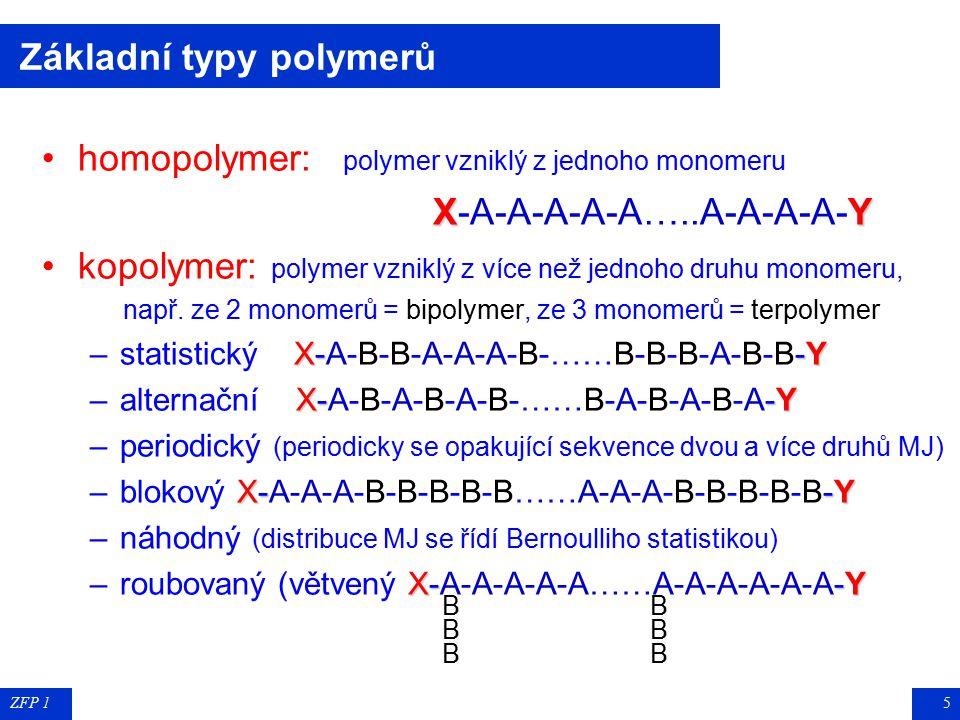 ZFP 15 Základní typy polymerů homopolymer: polymer vzniklý z jednoho monomeru XY X-A-A-A-A-A…..A-A-A-A-Y kopolymer: polymer vzniklý z více než jednoho druhu monomeru, např.