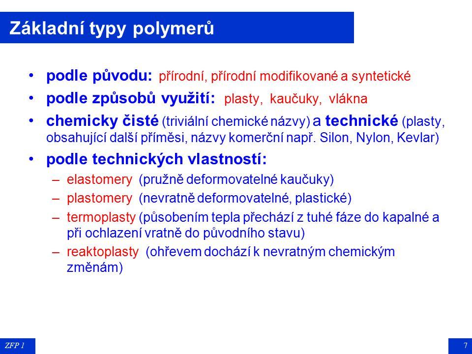 ZFP 17 Základní typy polymerů podle původu: přírodní, přírodní modifikované a syntetické podle způsobů využití: plasty, kaučuky, vlákna chemicky čisté (triviální chemické názvy) a technické (plasty, obsahující další příměsi, názvy komerční např.