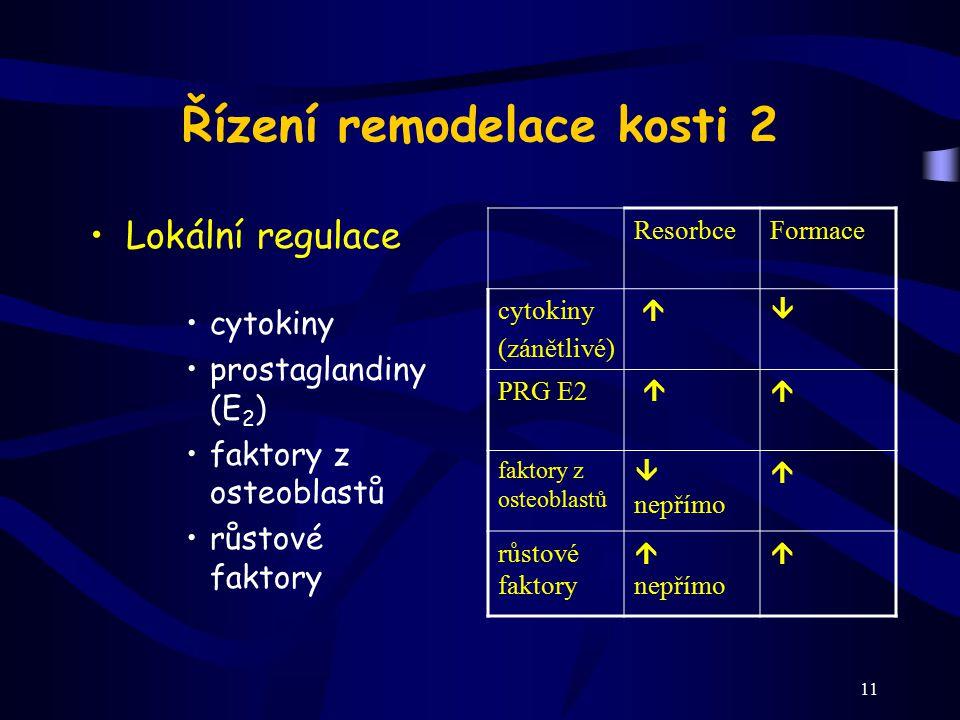 11 Řízení remodelace kosti 2 Lokální regulace cytokiny prostaglandiny (E 2 ) faktory z osteoblastů růstové faktory ResorbceFormace cytokiny (zánětlivé