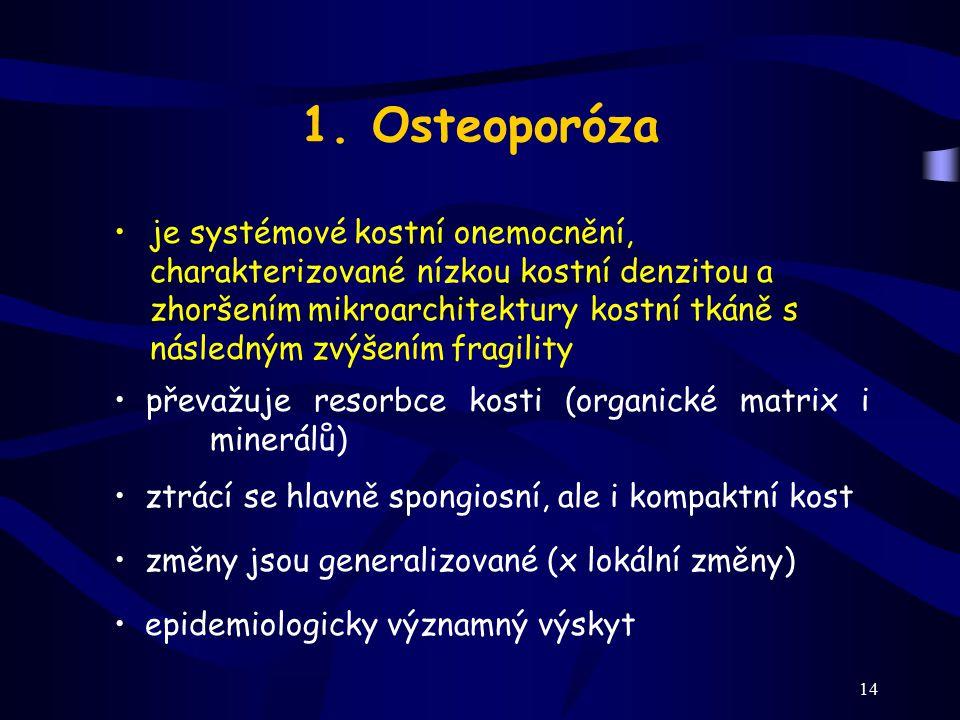 14 1. Osteoporóza je systémové kostní onemocnění, charakterizované nízkou kostní denzitou a zhoršením mikroarchitektury kostní tkáně s následným zvýše