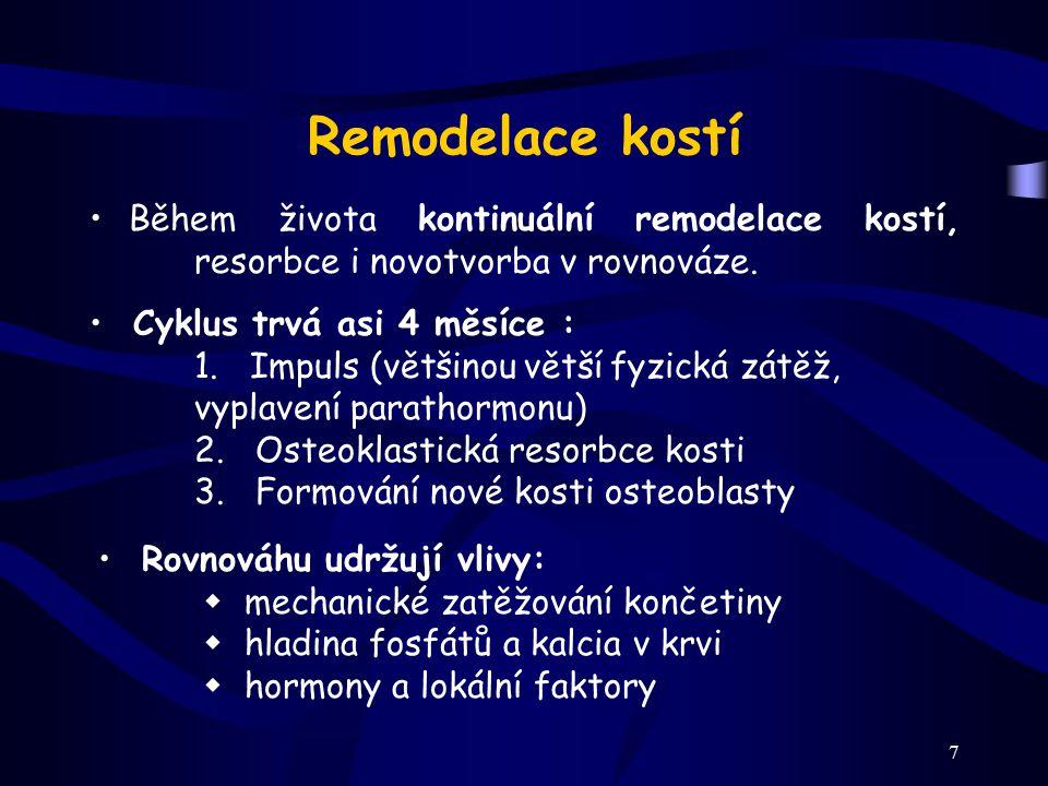 7 Remodelace kostí Během života kontinuální remodelace kostí, resorbce i novotvorba v rovnováze. Cyklus trvá asi 4 měsíce : 1. Impuls (většinou větší