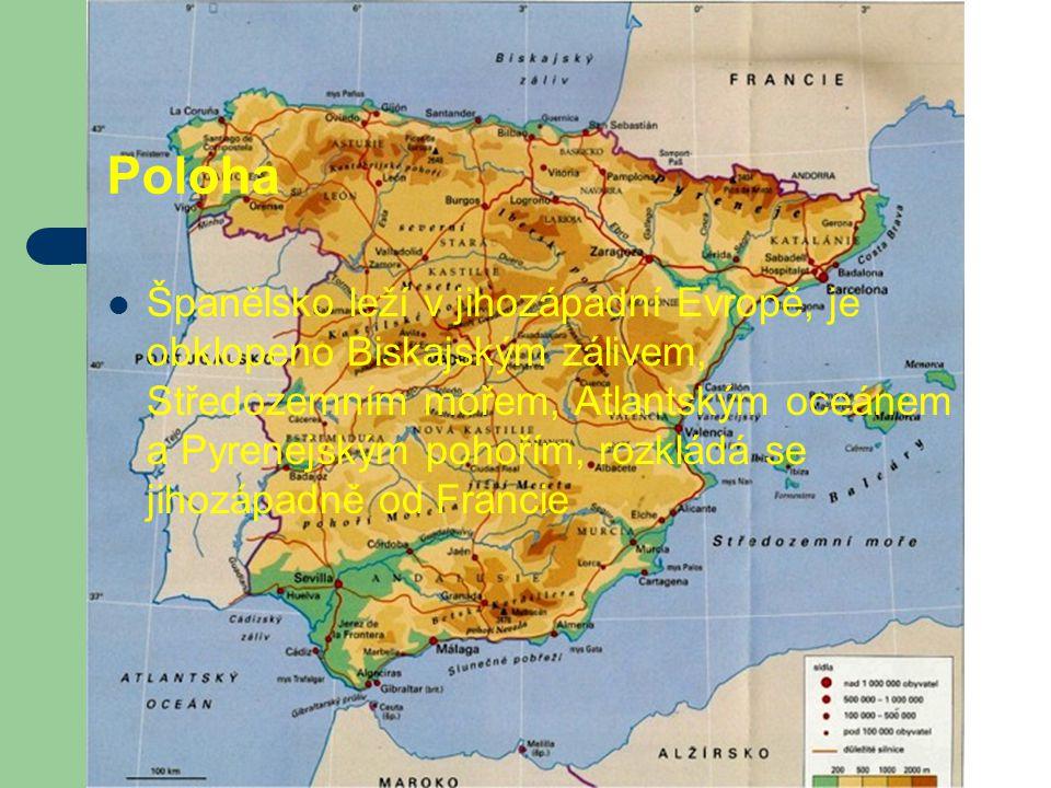 Poloha Španělsko leží v jihozápadní Evropě, je obklopeno Biskajským zálivem, Středozemním mořem, Atlantským oceánem a Pyrenejským pohořím, rozkládá se
