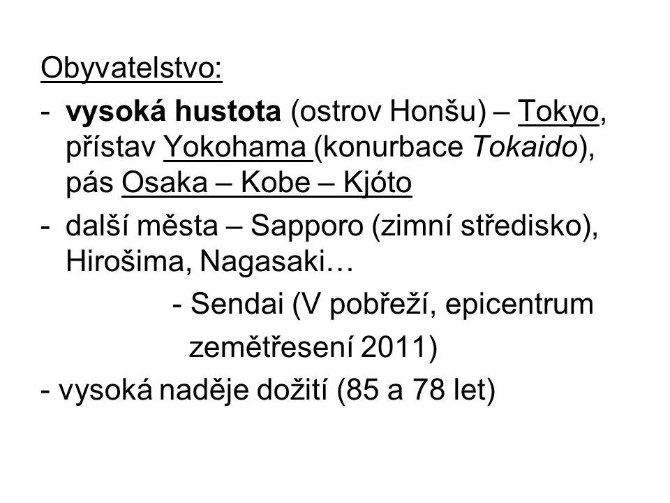 Obyvatelstvo: -vysoká hustota (ostrov Honšu) – Tokyo, přístav Yokohama (konurbace Tokaido), pás Osaka – Kobe – Kjóto -další města – Sapporo (zimní stř