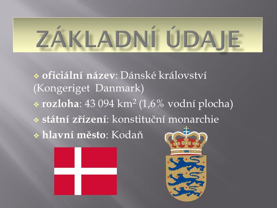  oficiální název : Dánské království (Kongeriget Danmark)  rozloha : 43 094 km 2 (1,6% vodní plocha)  státní zřízení : konstituční monarchie  hlav