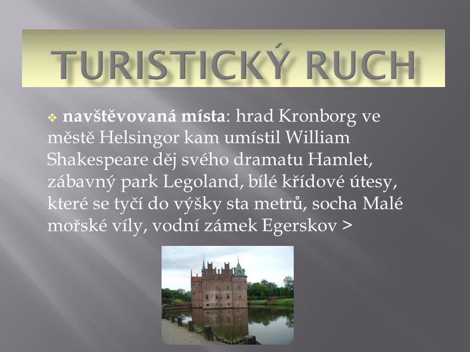  navštěvovaná místa : hrad Kronborg ve městě Helsingor kam umístil William Shakespeare děj svého dramatu Hamlet, zábavný park Legoland, bílé křídové