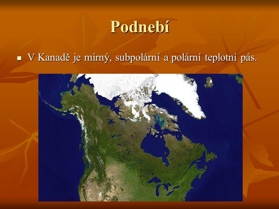 Podnebí V Kanadě je mírný, subpolární a polární teplotní pás. V Kanadě je mírný, subpolární a polární teplotní pás.