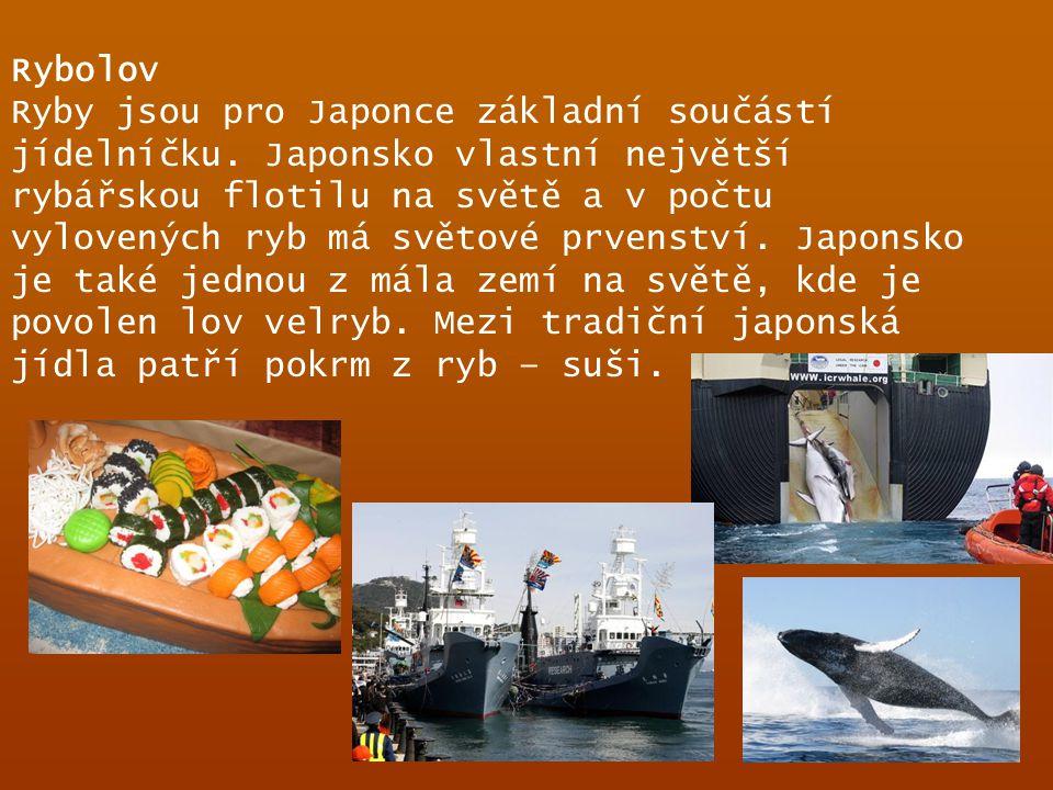 Rybolov Ryby jsou pro Japonce základní součástí jídelníčku. Japonsko vlastní největší rybářskou flotilu na světě a v počtu vylovených ryb má světové p