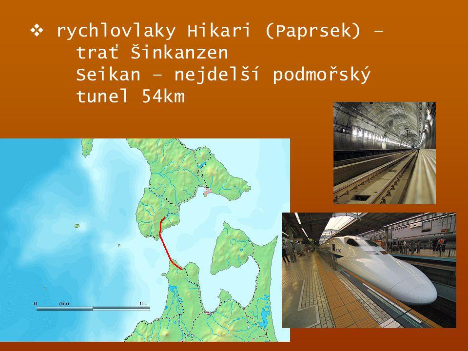  rychlovlaky Hikari (Paprsek) – trať Šinkanzen Seikan – nejdelší podmořský tunel 54km