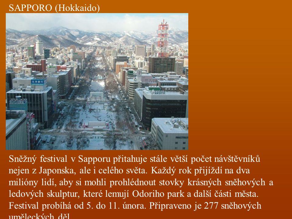 SAPPORO (Hokkaido) Sněžný festival v Sapporu přitahuje stále větší počet návštěvníků nejen z Japonska, ale i celého světa. Každý rok přijíždí na dva m