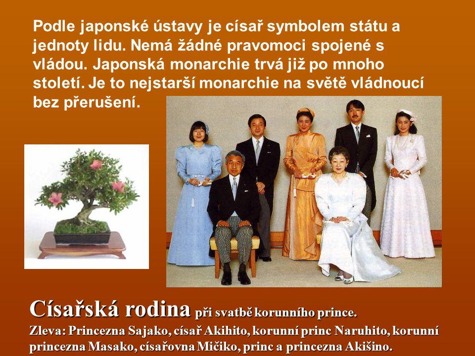 Císařská rodina při svatbě korunního prince. Zleva: Princezna Sajako, císař Akihito, korunní princ Naruhito, korunní princezna Masako, císařovna Mičik