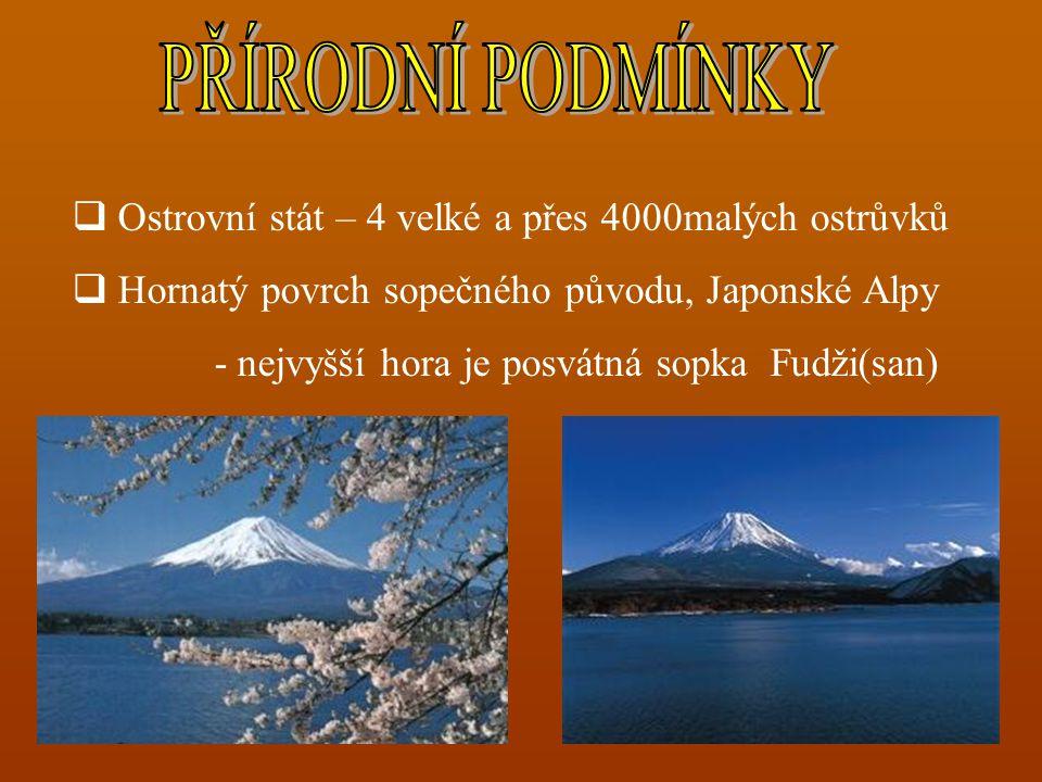  Ostrovní stát – 4 velké a přes 4000malých ostrůvků  Hornatý povrch sopečného původu, Japonské Alpy - nejvyšší hora je posvátná sopka Fudži(san)