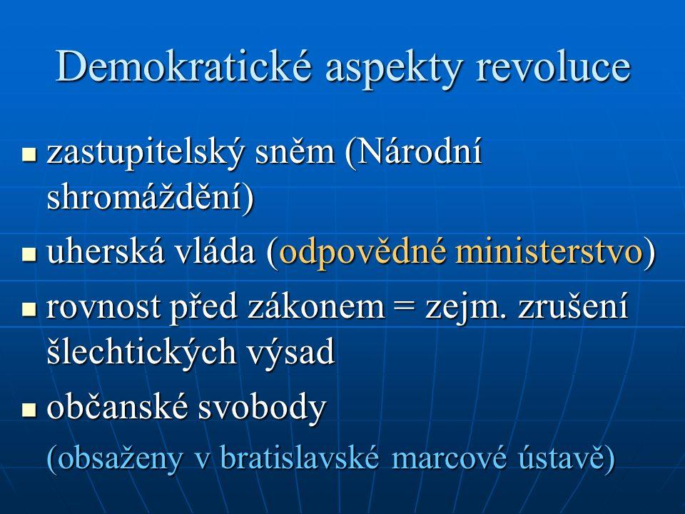 Demokratické aspekty revoluce zastupitelský sněm (Národní shromáždění) zastupitelský sněm (Národní shromáždění) uherská vláda (odpovědné ministerstvo) uherská vláda (odpovědné ministerstvo) rovnost před zákonem = zejm.