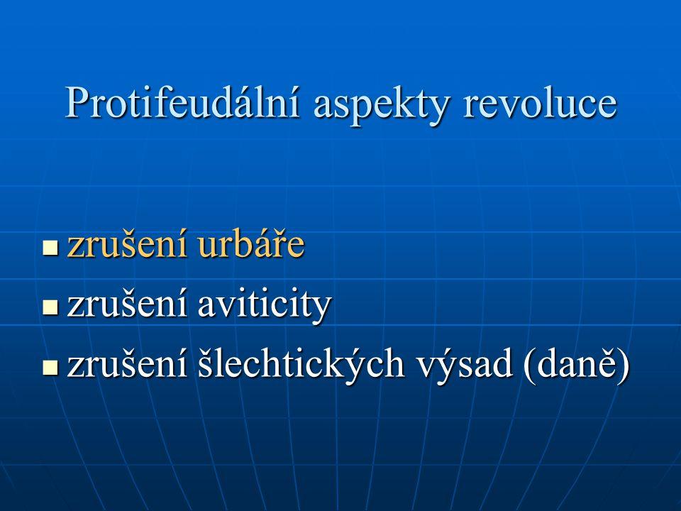 Protifeudální aspekty revoluce zrušení urbáře zrušení urbáře zrušení aviticity zrušení aviticity zrušení šlechtických výsad (daně) zrušení šlechtických výsad (daně)