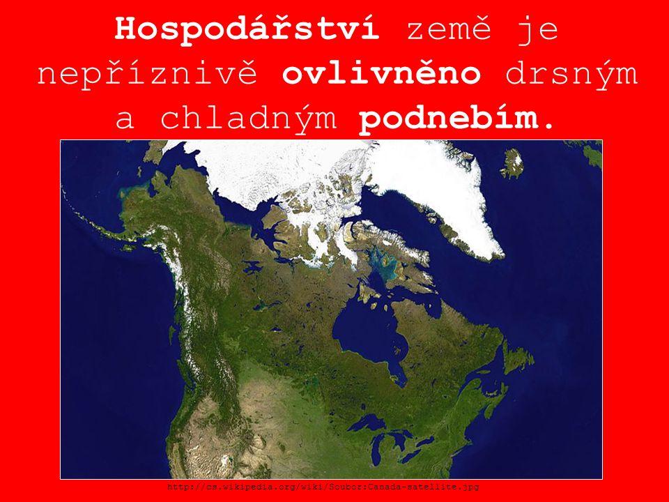 Hospodářství země je nepříznivě ovlivněno drsným a chladným podnebím. http://cs.wikipedia.org/wiki/Soubor:Canada-satellite.jpg