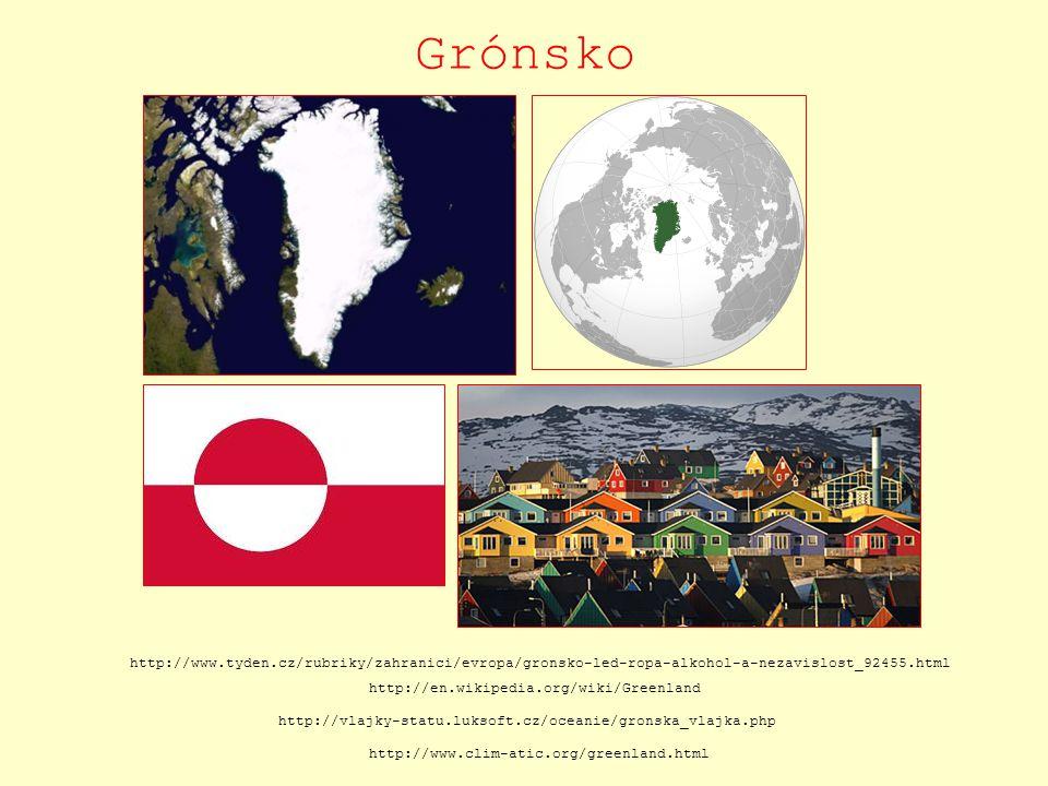 Grónsko http://www.tyden.cz/rubriky/zahranici/evropa/gronsko-led-ropa-alkohol-a-nezavislost_92455.html http://en.wikipedia.org/wiki/Greenland http://v