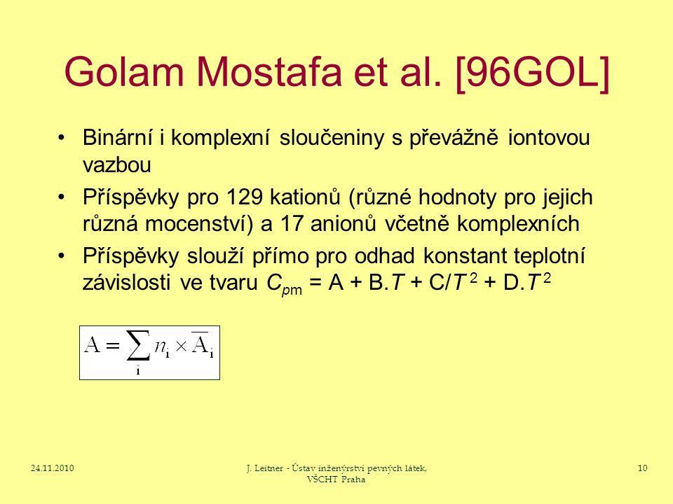 24.11.2010J. Leitner - Ústav inženýrství pevných látek, VŠCHT Praha 10 Golam Mostafa et al.