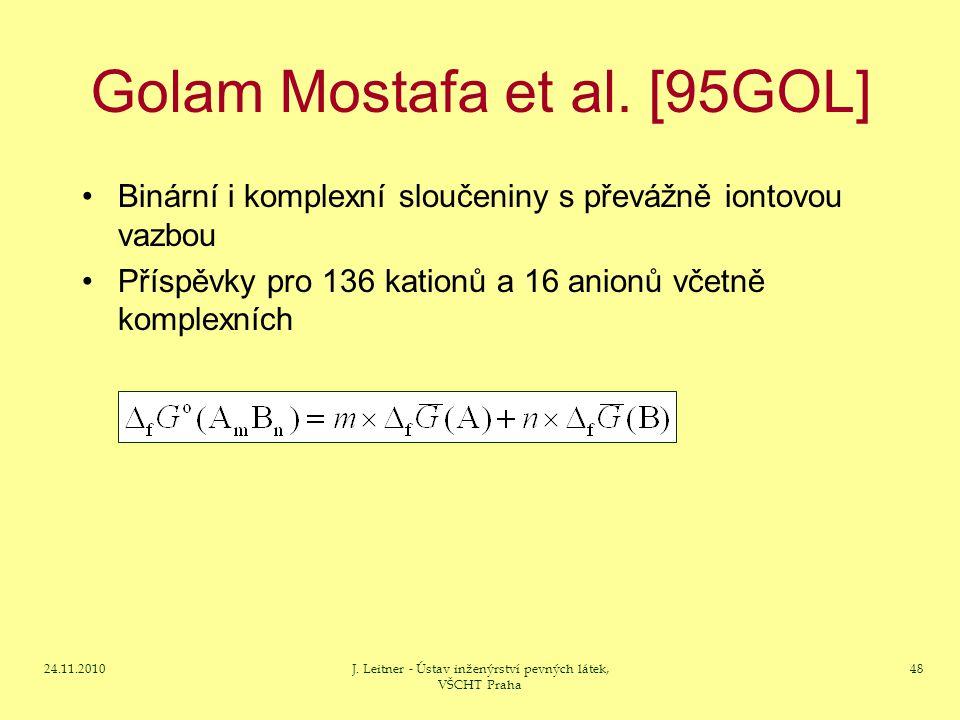 24.11.2010J. Leitner - Ústav inženýrství pevných látek, VŠCHT Praha 48 Golam Mostafa et al.