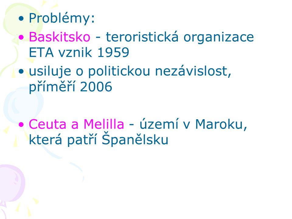 Problémy: Baskitsko - teroristická organizace ETA vznik 1959 usiluje o politickou nezávislost, příměří 2006 Ceuta a Melilla - území v Maroku, která pa